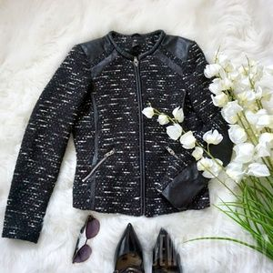 H&M Tweed and Faux Leather Jacket